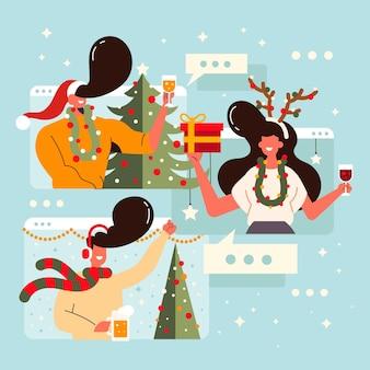 Leute videoanruf an weihnachten