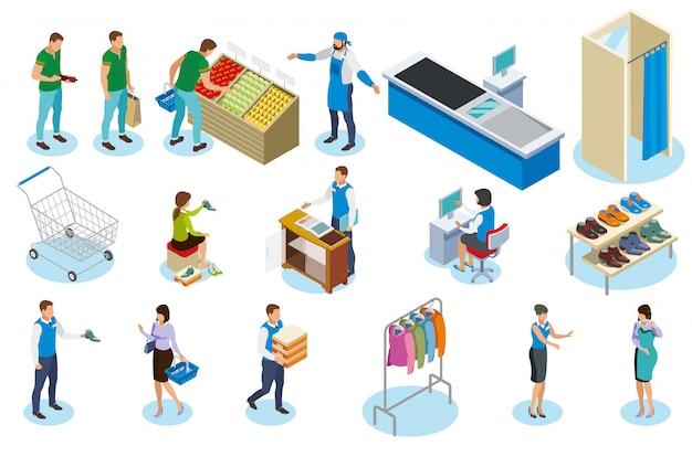 Leute während des einkaufens isometrisch mit handelsausrüstung