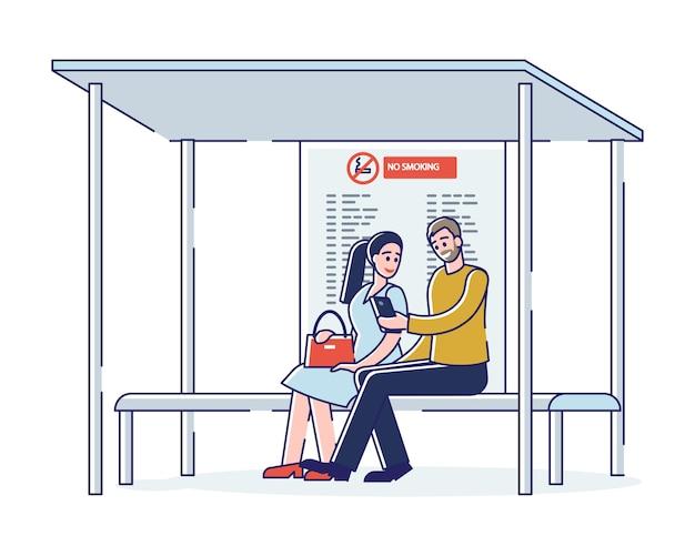 Leute warten bus sitzen auf bank an bushaltestelle. stadtgemeindeverkehr pendlerkonzept
