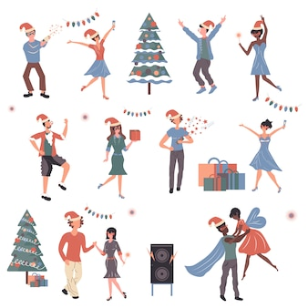 Leute, welche die weihnachtszeichentrickfilm-figuren eingestellt feiern.
