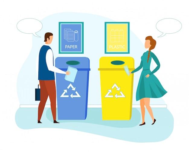 Leute werfen abfall in ökologische papierkörbe