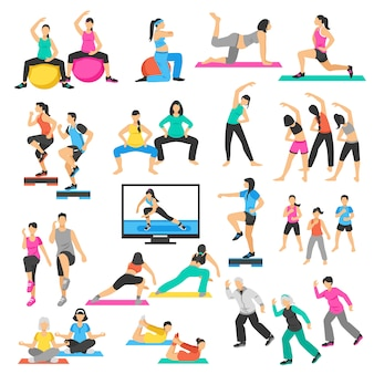 Leute-yoga-gymnastik-aerobic-satz