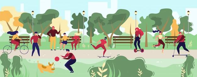 Leuteaktivitäten im stadt-park-flachen vektor-konzept