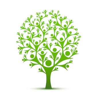 Leutebaumzeichenfarbe grün auf dem weißen hintergrund. vektor-illustration