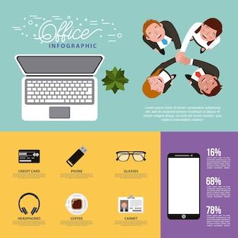 Leutebüroteam, das kreativen prozess infographics bearbeitet