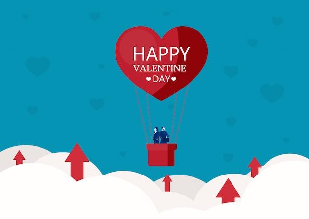 Leutegeschäft auf herzen formte heißluftballon-valentinstag mit diagrammwachstum auf wolkenvektor
