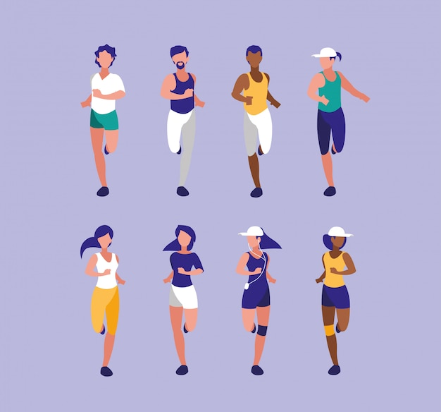 Leutesportler, der avataracharakter laufen lässt