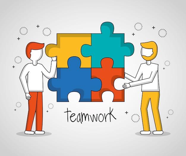 Leuteteamwork-junge, der puzzlespielvektorillustration hält