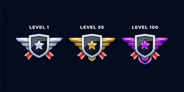 Level-abzeichen oder insignien gesetzt