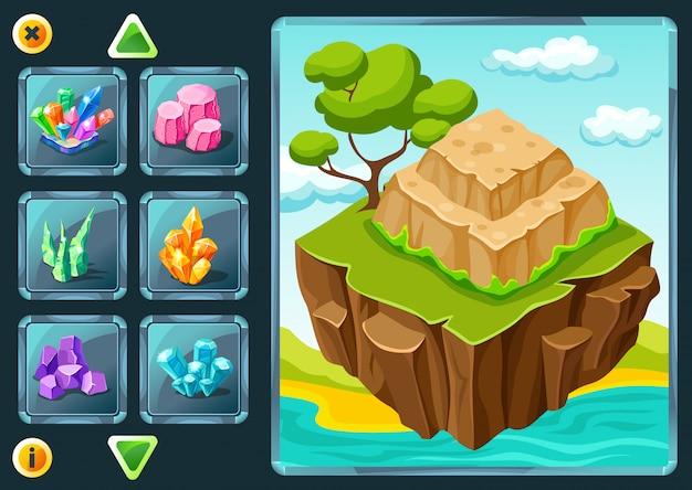 Level-auswahlbildschirm des computerspiels