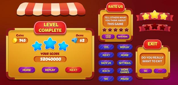 Level complete rate us und exit-menü popup-bildschirm mit sternen und schaltfläche