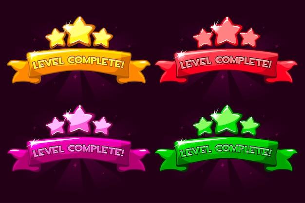 Level komplett, farbige ranglisten-banner mit sternen und band.