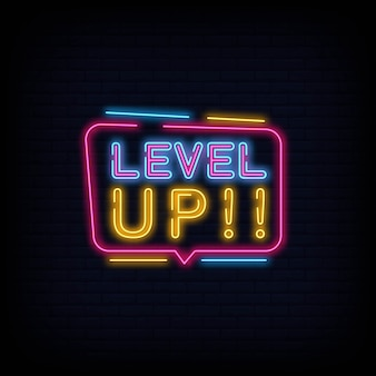 Level up neon sign tect vector