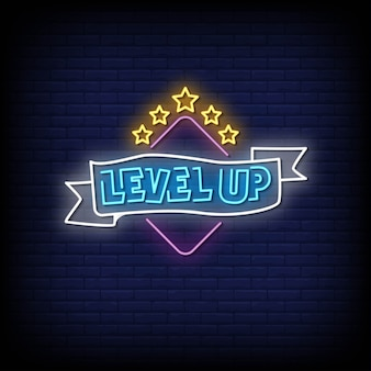 Level up neon signs style text