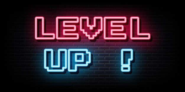 Level up neon signs vector design template neon style
