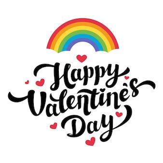 Lgbt gemeinschaft happy valentines day schriftzug