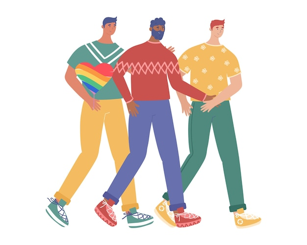 Lgbt konzept. eine gruppe schwuler männer nimmt an einer stolzparade teil. karikaturartillustration lokalisiert