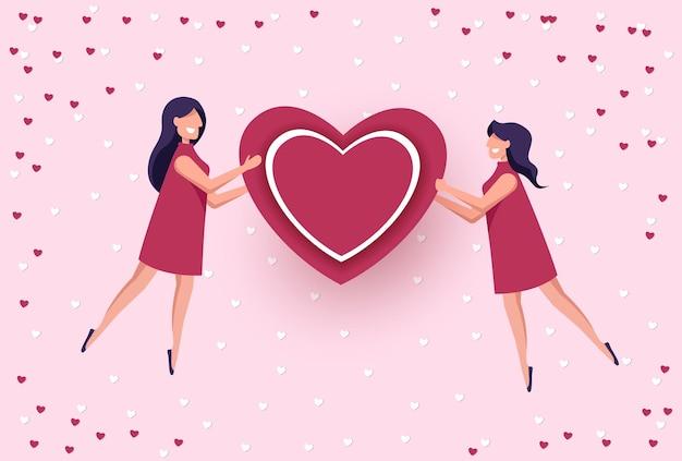 Lgbt, lesben. liebe zu zwei frauen, valentinstag