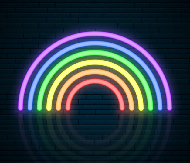 Lgbt neon regenbogen zeichen. lgbt pride month. lesben homosexuell bisexuelle transgender. regenbogen-liebeskonzept. menschenrechte und toleranz. illustration isoliert auf backsteinmauer