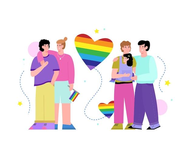 Lgbt-paare mit symbolischem flachen karikatur des regenbogens