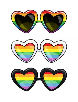 Lgbt-plakat einer brille in kunststoffrahmen. satz herzformsonnenbrille mit regenbogenlinsen.