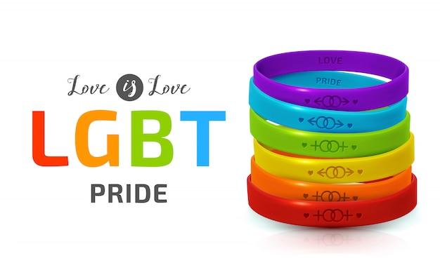 Lgbt pride konzept. regenbogen-gummiarmbänder für homosexuelle. silikonarmbänder mit symbolen des geschlechts