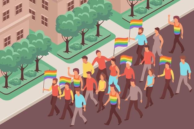 Lgbt-protest mit männern und frauen, die flaggen halten, die die straße hinuntergehen 3d isometrisch