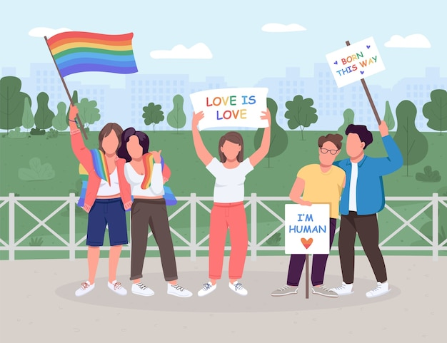 Lgbt soziale bewegung flache farbe. schwule und lesben sind gleichberechtigt. geschlechtsidentität. gleichgeschlechtliche paare. gesichtslose zeichen der 2d-karikatur mit grüner landschaft auf hintergrund
