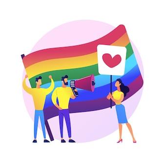 Lgbt-stolz. homosexuelle gleichheit. lesben, schwule, bisexuelle, transgender. homosexuelle menschen mit bunten regenbogenfahnen streikposten. lgbt-rechte-bewegung.