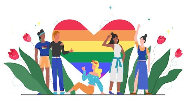 Lgbt stolz regenbogen herz konzept illustration. karikatur glückliche lgbt-gemeinschaftsvielfaltmenschen, die zusammen mit regenbogenherz, symbol der liebe, gleichheit, toleranz auf weiß stehen