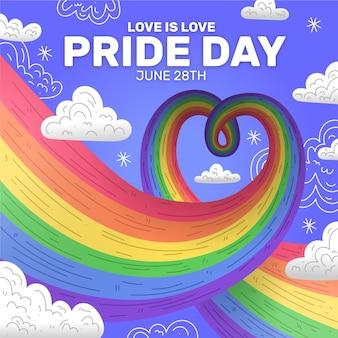 Lgbt stolz tag regenbogen am himmel