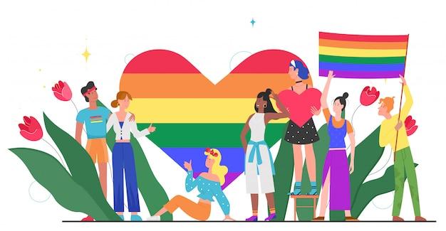 Lgbt-stolzmonatskonzeptillustration. karikatur junge gruppe von liebhaber menschen, die zusammen stehen, winken, regenbogenherz und lgbt-flagge in händen halten, homosexuelle regenbogenliebe lokalisiert auf weiß