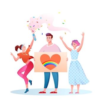 Lgbt-stolzparade. karikatur flache glückliche homosexuelle und transgender-leute mit lgbt-regenbogenfahne