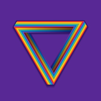 Lgbt-stolzsymbol, nahtloses dreieck des regenbogens auf einem veilchen.