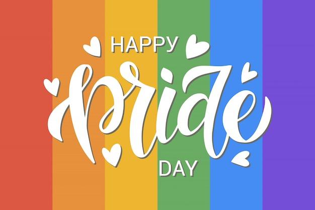 Lgbt-vektorillustration. handgezeichnete moderne beschriftung des glücklichen stolz-tages auf regenbogenhintergrund
