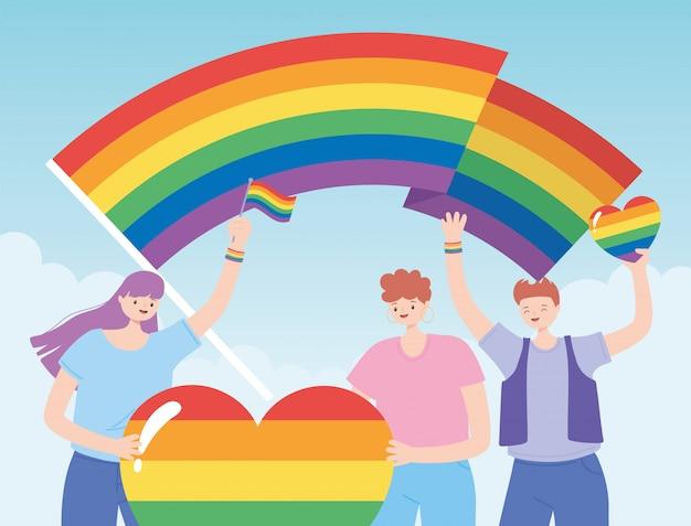 Lgbtq-community, charaktere mit regenbogenherz und flaggen, protest gegen sexuelle diskriminierung bei homosexuellenparaden