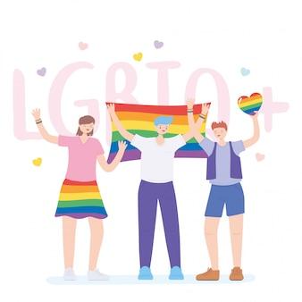 Lgbtq-community, die gruppenleute mit regenbogenherz und flagge feiert, protest gegen sexuelle diskriminierung bei schwulen paraden