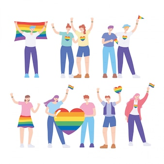 Lgbtq-community, homosexuelle menschen mit flagge und herz regenbogen, homosexuell parade sexuelle diskriminierung protest