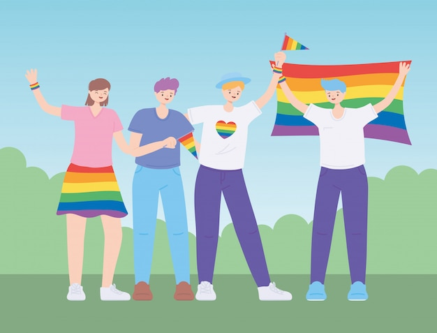Lgbtq-community mit flaggen