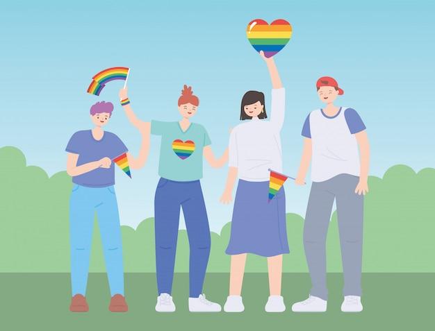 Lgbtq-community mit herzen und flaggen