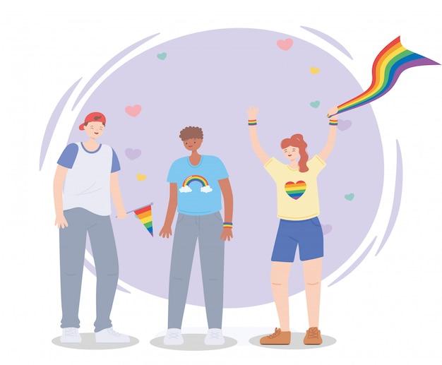 Lgbtq-community protestiert mit regenbogenfahnen