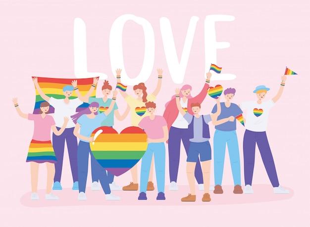 Lgbtq-community, verschiedene gruppenleute mit regenbogenfahnen und herz, protest gegen sexuelle diskriminierung bei schwulenparaden