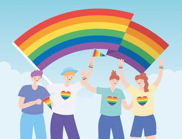 Lgbtq-community, vielfältige gruppe mit regenbogenfahne, protest gegen sexuelle diskriminierung bei schwulenparaden