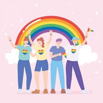 Lgbtq-gemeinschaft, fröhliche gruppenmenschen-toleranzfeier, homosexuell parade sexuelle diskriminierung protestillustration