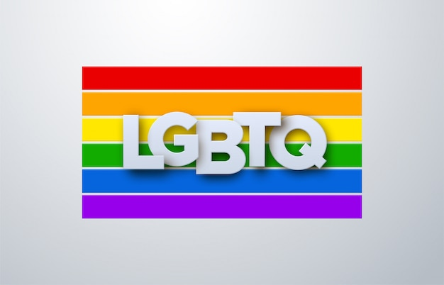 Lgbtq-papierzeichen auf regenbogenfahnenhintergrund. illustration. menschenrechts- oder diversitätskonzept. lgbt event banner design.