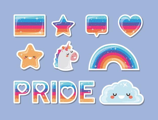 Lgtbi blase herz flagge stern regenbogenwolke und einhorn design