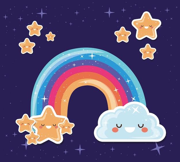 Lgtbi regenbogen mit kawaii stern und wolke