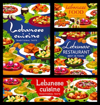 Libanesische küche und arabische lebensmittelvektorgerichte mit gemüseknödelsuppen, hummus, fleischbohneneintopf. halloumi-käse, lammkofta-frikadellen und sfouf-kuchen, gefüllte zucchini und fattoush-salat, menüabdeckung