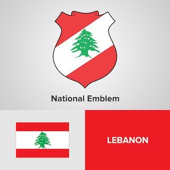 Libanon national emblem und flagge
