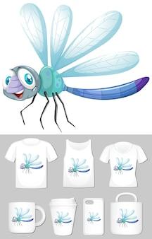 Libelle auf verschiedenen produktvorlagen